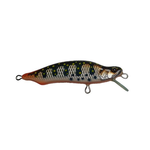 leurre pêche truite fait à la main. Sa petite taille lui rend une pêche très nerveuse. Il est réputé pour sortir du lot et fonctionner ou d'autres leurres échouent. C'est un redoutable leurre pour la traque des truites moyennes.