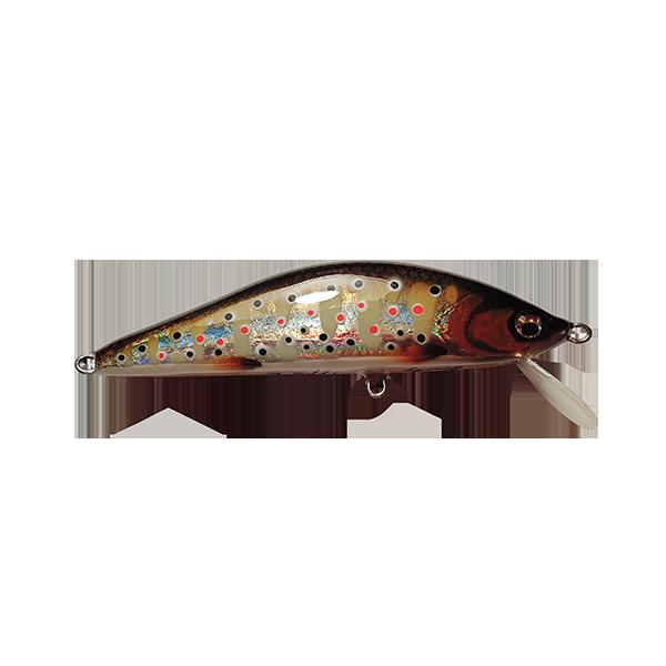 leurre pêche truite fait à la main. Il est redoutable sur les pêches fortes des grosses truites. Sa nage est extrêmement riche en animations diverses